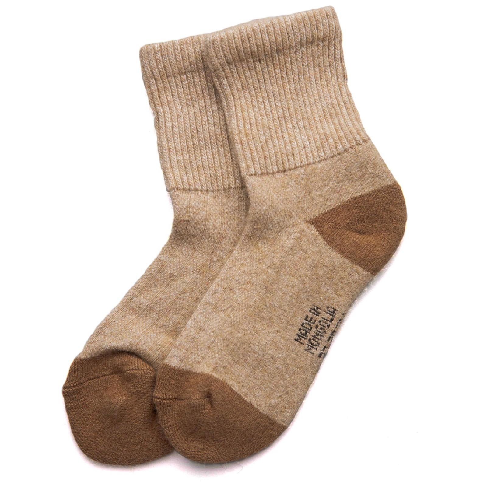 Носки взрослые из монгольской верблюжьей шерсти бежевые