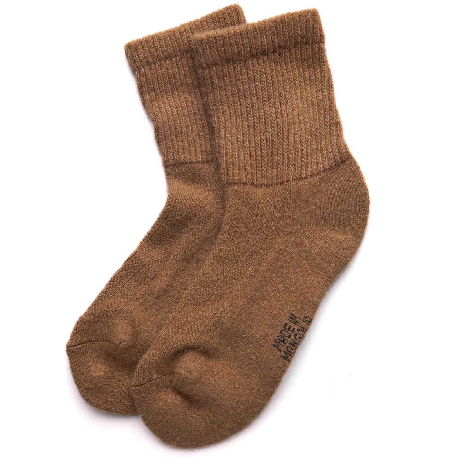 Носки взрослые из монгольской верблюжьей шерсти коричневые