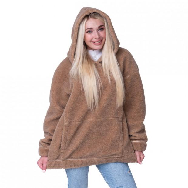 Толстовка женская из верблюжьей шерсти оверсайз коричневая