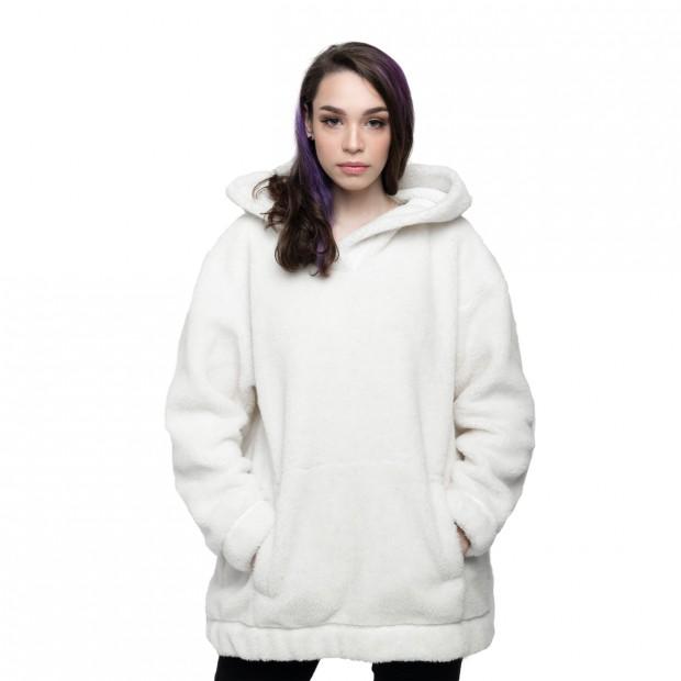Толстовка женская из овечьей шерсти оверсайз белая