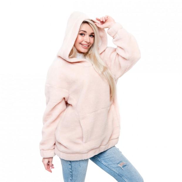 Толстовка женская из овечьей шерсти оверсайз розовая
