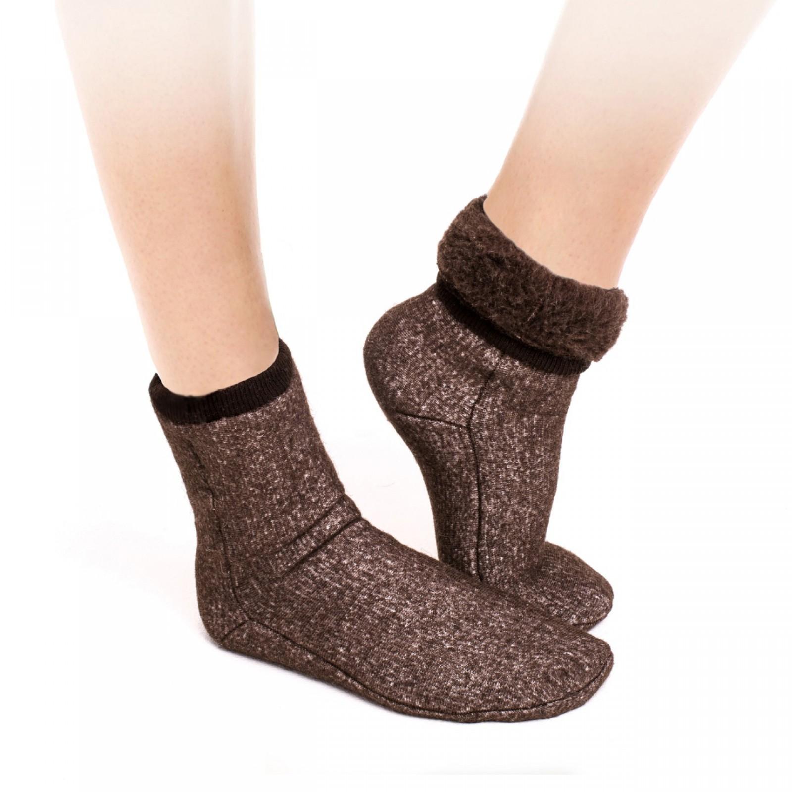 Носки меховые эластичные цвет шоколад