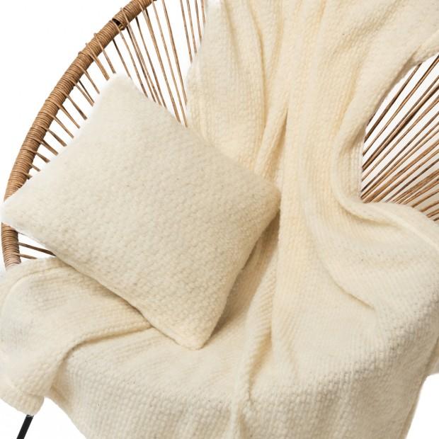 Комплект подушка+плед цвет ваниль