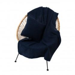 Комплект подушка+плед цвет индиго