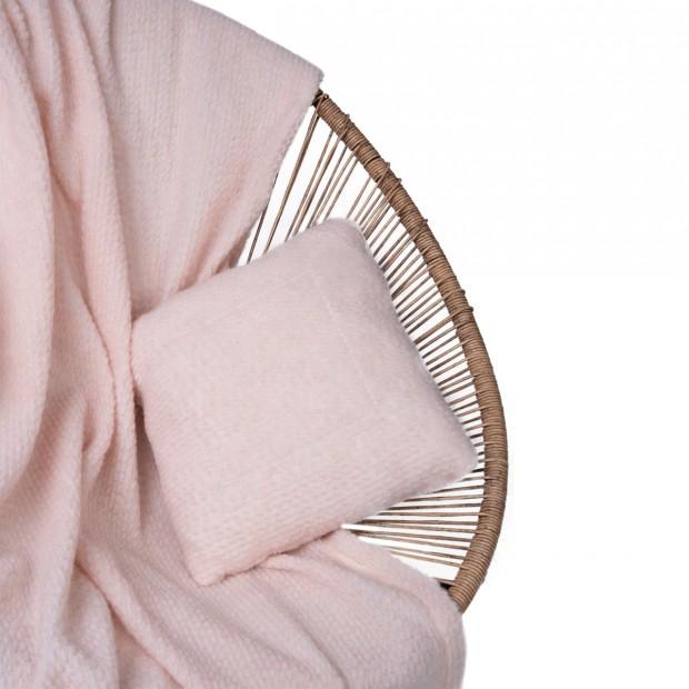 Комплект подушка+плед цвет пудра