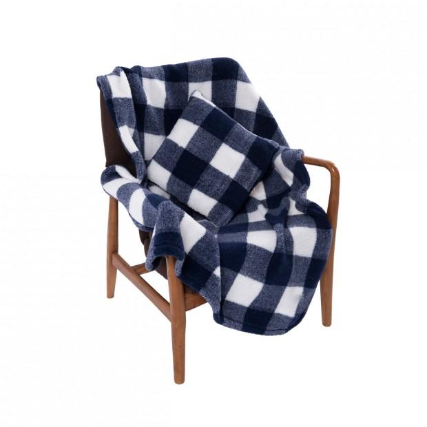 Комплект подушка+плед меховой цвет клетка синий
