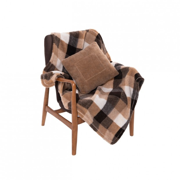 Комплект подушка+плед меховой цвет клетка камел